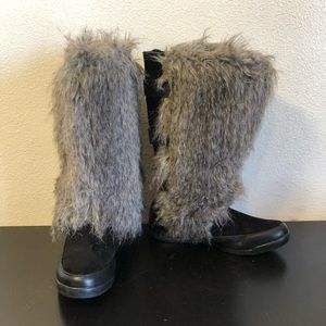 Baby Phat Gray Black Faux Fur Boots